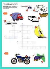 Crucigrama de Transporte en Ingles para ninos