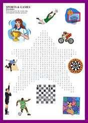 Deportes y Juegos sopa de letras en Ingles