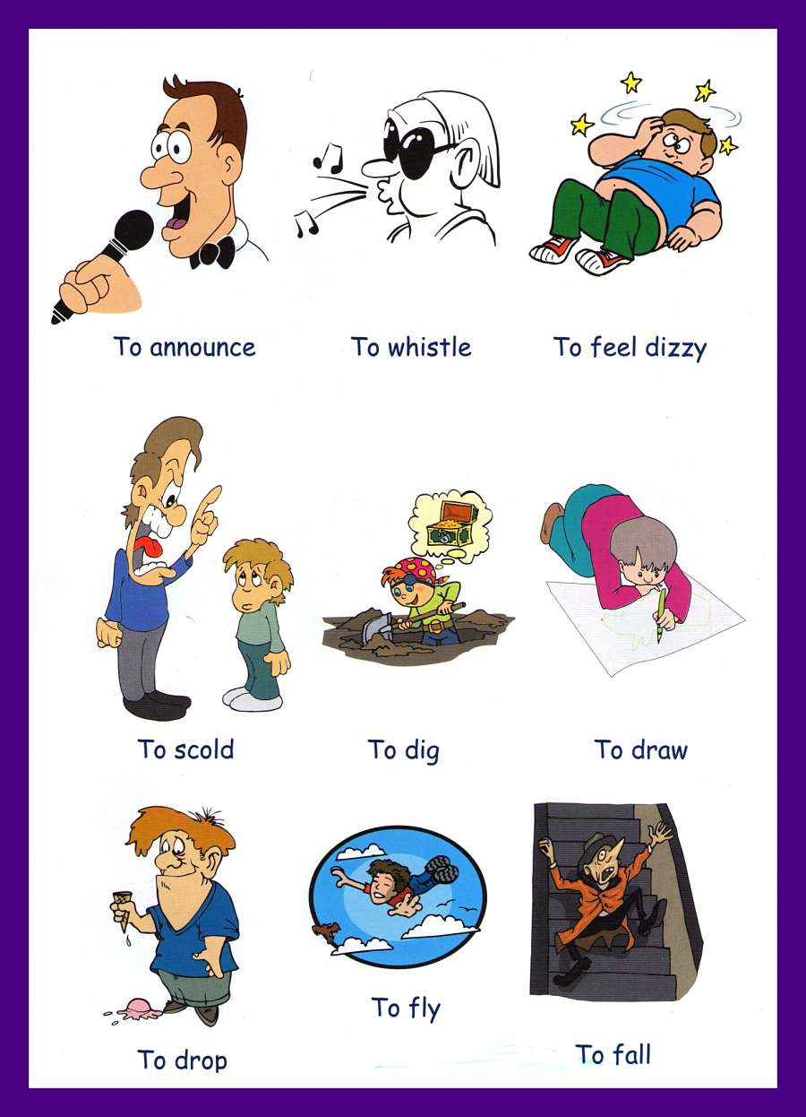 Verbs Pictures to Download and Print – Action Words Worksheets for Kindergarten