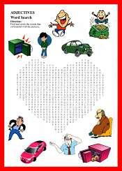 Adjectivos Corazon Sopa de Letras Para Ninos