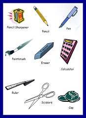Articulos del salon de clases en Ingles