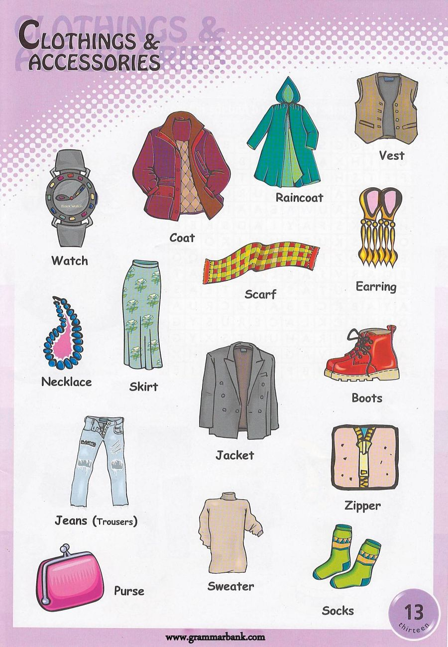 Clothes vocabulary games printable