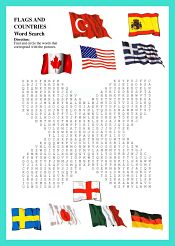 Countries and Flags WordSearch For Kids