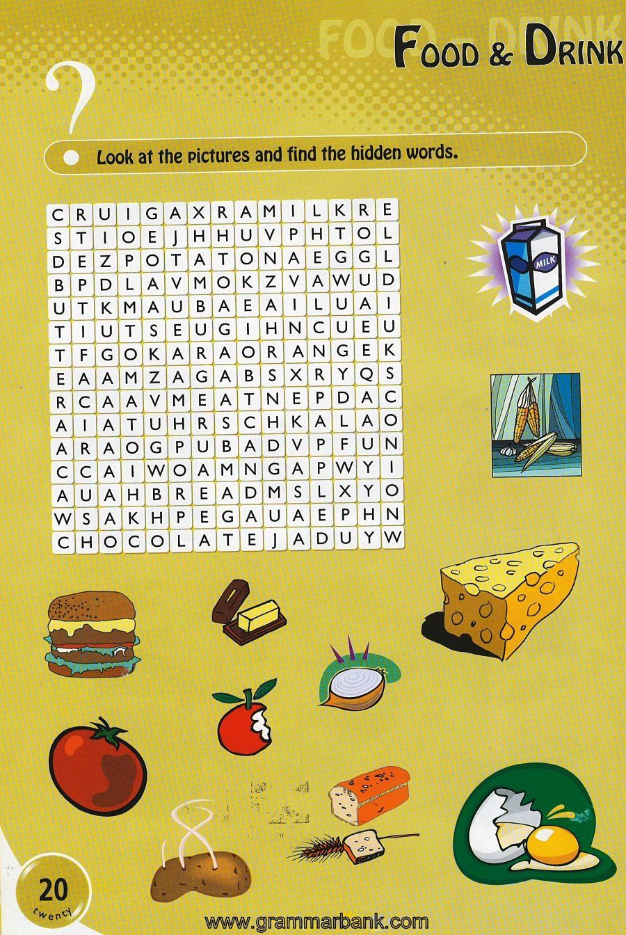 Food and Drinks wordsearch for kids