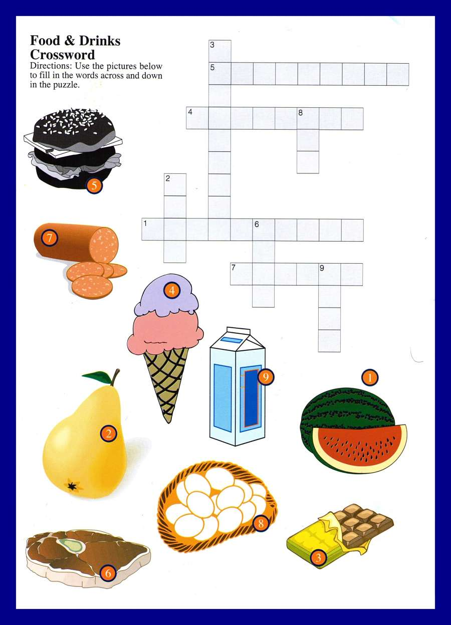 drinks food crossword word ingilizce crosswords games bulmaca ingles foods yiyecek icecekler ve puzzles es meat hamburger