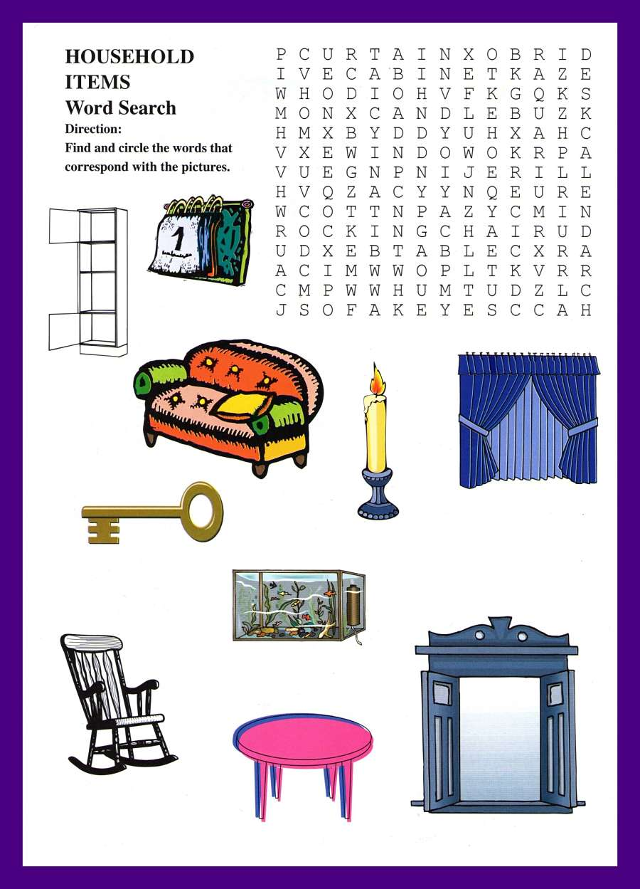 Household Items Word Puzzles For Kids