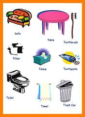 Household Items Picture Vocabulary For Children