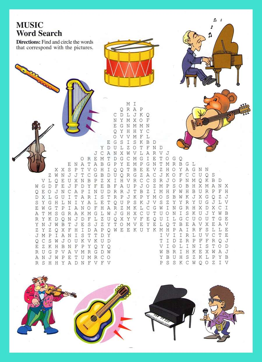 Musics Instruments WordSearch For Kids