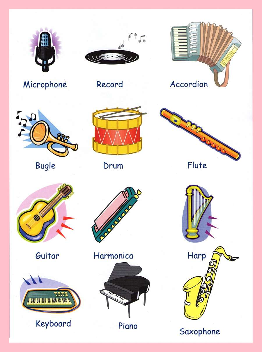 Musical Instruments With Names on Worksheets Color By Note