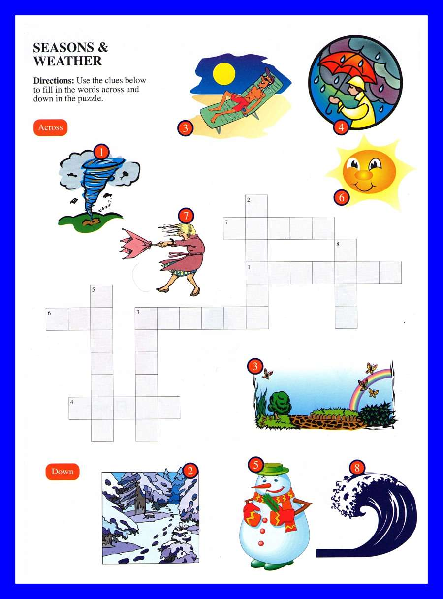 Seasons And Weather Crossword Kids
