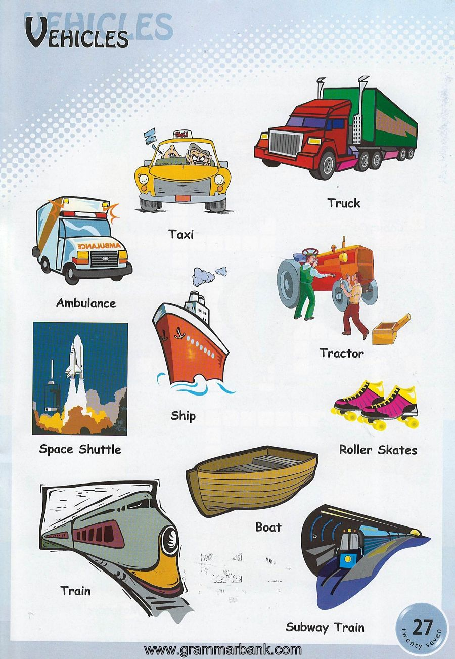 Vehicle Names Transportation Vocabulary