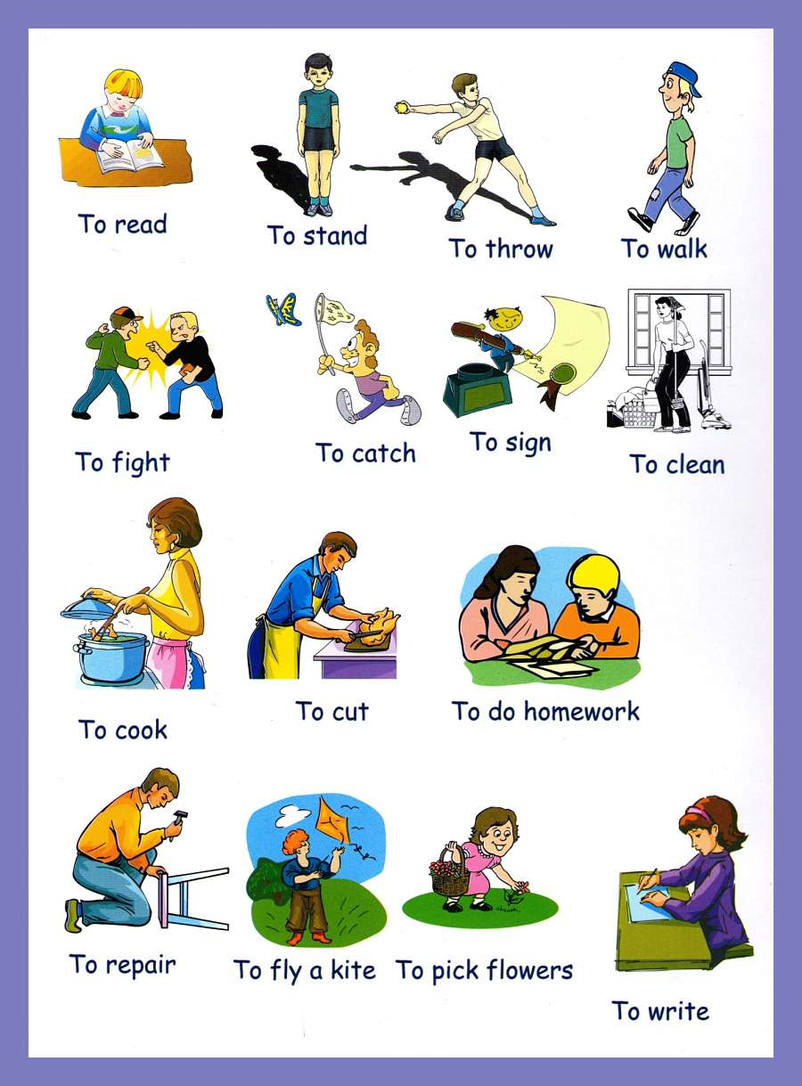 verbs pictures to and print verbs picture dictionary