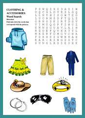 Clothing and Accessories WordSearch For Kids