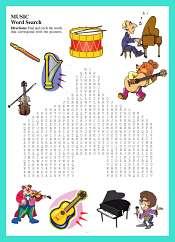 Mots Cachés Instruments de Musique en Anglais