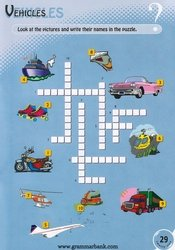 Vehicles Crossword For Kids